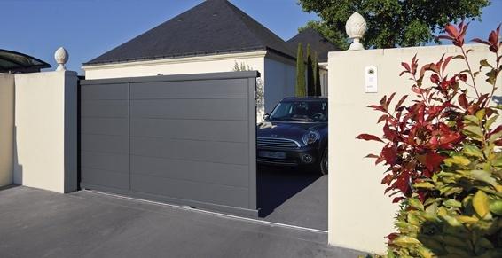 Portail éléctrique coulissant gris - portail motorisé