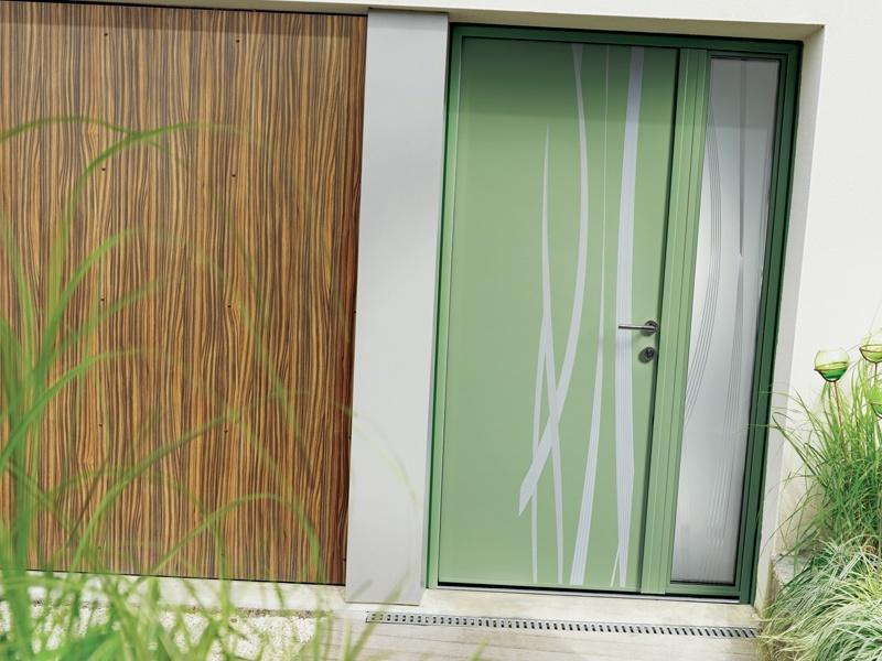 Menuiserie - Porte d'entrée alu kline verte pale