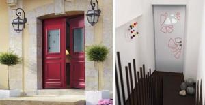 porte d'entrée alu rouge intérieure et extérieure