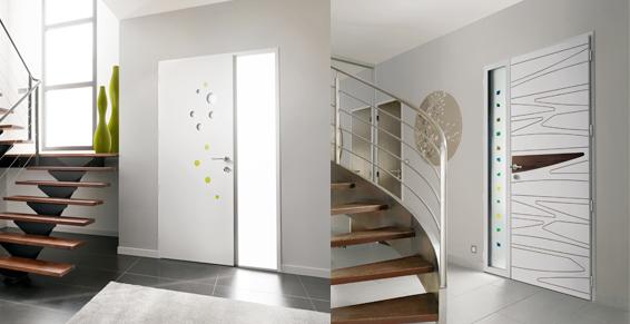 porte d'entrée alu côté intérieur - design rond et lineaire