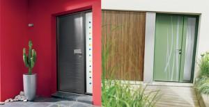 porte d'entrée vertes ou grise alu côté extérieur - design kline