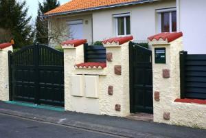 pose de portail et brise vue vert - portillon